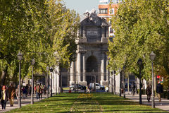 Puerta de Alcalá in Madrid. View of the Puerta de Alcalá from the Retiro Park in Madrid stock images