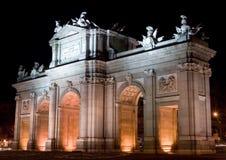 Puerta DE Alcala bij Nacht Stock Afbeelding
