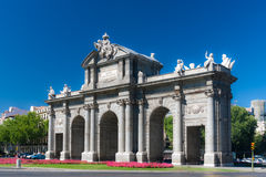 Puerta de Alcala in central Madrid, Spain. The Puerta de Alcala is a Neo-classical monument in the Plaza de la Independencia in Madrid, Spain Stock Image
