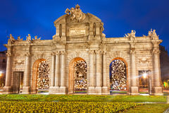 Puerta de Alcala at Christmas, Madrid Royalty Free Stock Photo