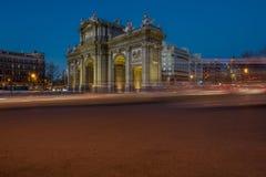 Puerta de Alcala durch sundawn Lizenzfreie Stockfotos
