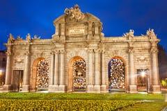 Puerta de Alcala en la Navidad, Madrid Foto de archivo libre de regalías