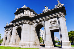 Puerta de Alcala on the Independence Square, Madrid, Spain Royalty Free Stock Images