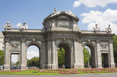 Puerta de Alcala in Madrid in a beautiful summer day Royalty Free Stock Images
