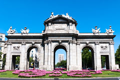 Puerta de Alcala, in Madrid, Spain. A Neo-classical monument in the Plaza de la Independencia (Independence Square) in Madrid, Spain Stock Photos