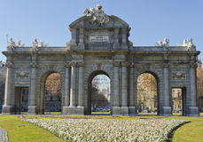 Puerta de Alcala in Madrid - Spain. One of the main landmarks of Madrid - Puerta de Alcala Royalty Free Stock Image
