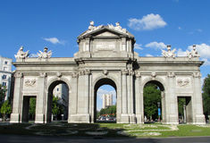 Puerta de Alcala in Madrid, Spain. The Puerta de Alcala (Alcala Gate). Neo-classical monument in the Plaza de la Independencia (Independence Square) in Madrid Stock Photo