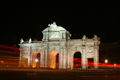Puerta de Alcala, Madrid, Spain at night. Stock Photos