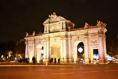Puerta de Alcala in Madrid, Spain at night Royalty Free Stock Photography