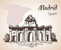 Puerta de Alcala - Madrid. Spain. On white background Royalty Free Stock Photography