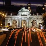 Puerta de Alcala, Madrid, Spanien Arkivbild