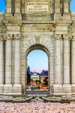 The Puerta de Alcala is a monument in the Plaza de la Independen Stock Photo