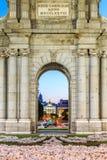 The Puerta de Alcala is a monument in the Plaza de la Independen Stock Photo