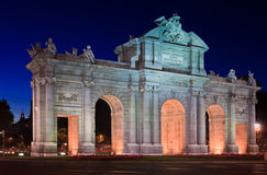 Puerta de Alcala at Night Royalty Free Stock Images