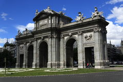 Puerta de Alcala, the old buildings in Madrid, Spain Stock Image