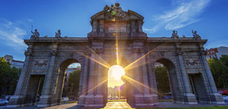 Puerta de Alcala at sunset Stock Photo