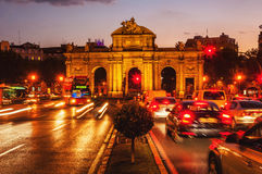 Puerta de Alcala at sunset in Madrid, Spain Stock Photos