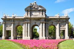 Puerta de Alcala,a symbol of the city of Madrid Stock Photos