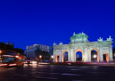 Puerta de Alcala and Traffic Stock Images