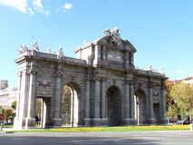 Puerta de Alcala,the triumphal arch in the city center of Madrid Royalty Free Stock Image