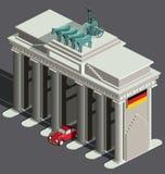Puerta de Berlín y coche alemán Imagen de archivo