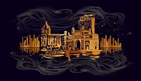 Puerta de Bombay, la India ilustración del vector