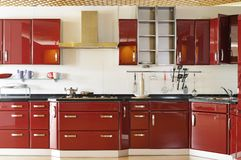 Puerta de cabina moderna de cocina 03 de color rojo oscuro Imágenes de archivo libres de regalías