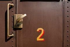 Puerta de cabina vieja del carro del tren Imagen de archivo