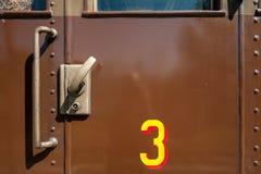 Puerta de cabina vieja del carro del tren Foto de archivo