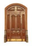 Puerta de caoba de madera Imagenes de archivo