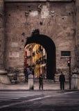 Puerta de Cuarte - Valencia, Spain. Podemos observar la calle de Quart. Es una de las calles principales que pasa por el barrio del Carmen, uniendo la plaza del Royalty Free Stock Photos