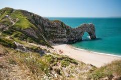 Puerta de Durdle Trayectoria costera del oeste del sur, Dorset, Reino Unido foto de archivo libre de regalías