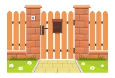 Puerta de entrada con el buzón stock de ilustración