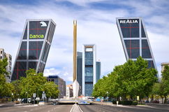 Puerta de Europa in Madrid, Spain. Royalty Free Stock Photo