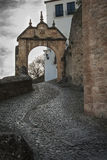 Puerta de Felipe V. The old Arab Gate Bridge was replaced during the reign of the first Bourbon to the Spanish throne Felipe V, in 1742, as recorded in the Royalty Free Stock Image