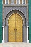 Puerta de Golded de Royal Palace en Fes fotos de archivo