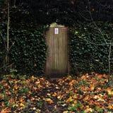 Puerta de jardín rodeada hiedra con las hojas de otoño Fotografía de archivo