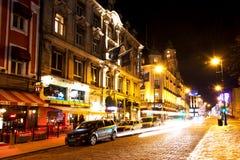 Puerta de Karl Johans en la noche del invierno Imágenes de archivo libres de regalías