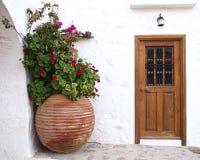 Puerta de la casa y tarro enorme de la flor Imágenes de archivo libres de regalías