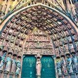 Puerta de la catedral de Estrasburgo Fotografía de archivo