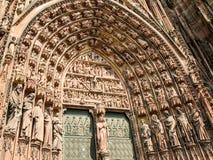 Puerta de la catedral de Estrasburgo Foto de archivo libre de regalías