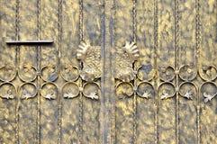 Puerta de la hoja de metal en la pintura Foto de archivo libre de regalías