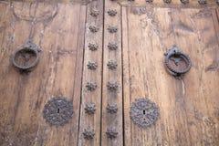 Puerta de la iglesia, Pollenca, Majorca Imagen de archivo libre de regalías