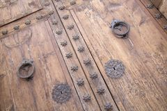 Puerta de la iglesia, Pollenca, Majorca Imagen de archivo