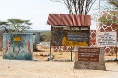 Puerta de la reserva nacional de Samburu Fotos de archivo