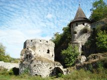 Puerta de la torre con la barbacana y la casamata, Kamianets-Podilskyi, Ucrania imagen de archivo