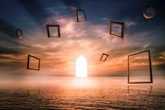 Puerta de la vida, símbolo iluminado de la puerta del buen hecho, concepto imaginativo Utilice los arcos islámicos con la opinión ilustración del vector