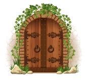 Puerta de madera con la hiedra ilustración del vector