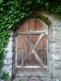 Puerta de madera con la pared de piedra y la hiedra Imagen de archivo