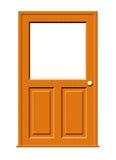 Puerta de madera con la ventana en blanco Imágenes de archivo libres de regalías